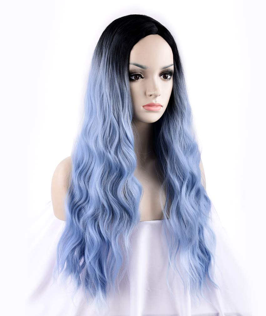 SEIKEA Wavy Blue Ombre Wig Middle Part for Women Dark Root 27 Inch