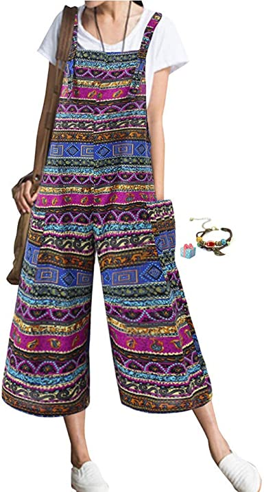 Boho Petos de Pantalones Casual para Mujer, Morbuy Verano Lino ...