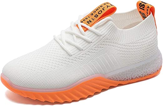 Willsky Zapatillas de Deporte de Punto para Mujeres, absorción de Choque Calzado para Correr Transpirable Moda Zapatos de Deporte Casual Zapatos para Caminar Ligeros,Orange,36: Amazon.es: Hogar