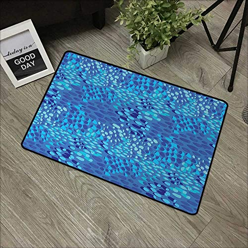 Printed Door mat W24 x L35 INCH Aqua,Animal Pattern Inspired by Tropical Fish Skin Scales Hand Drawn Style Spotty,Violet Blue Aqua Non-Slip Door Mat Carpet