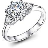 Serenday レディース 婚約指輪 3粒 華奢 k18 ホワイトゴールド メッキ cz ダイヤ エンゲージリング