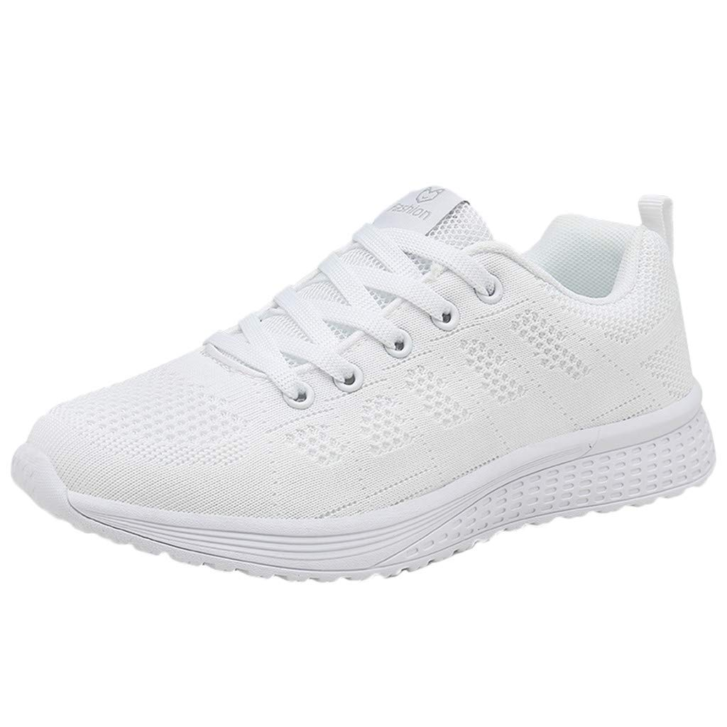 refulgence Womens Outdoor Mesh Gym Shoes Tennis Athletic Running Shoes Sneakers (US:5,White)