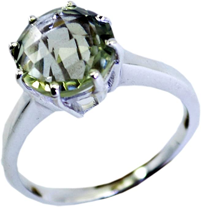 Gemsonclick Natural Green Amethyst Ring Beautiful Heart Design Handmade Silver Jewelry Ring Sizes 4 to 13