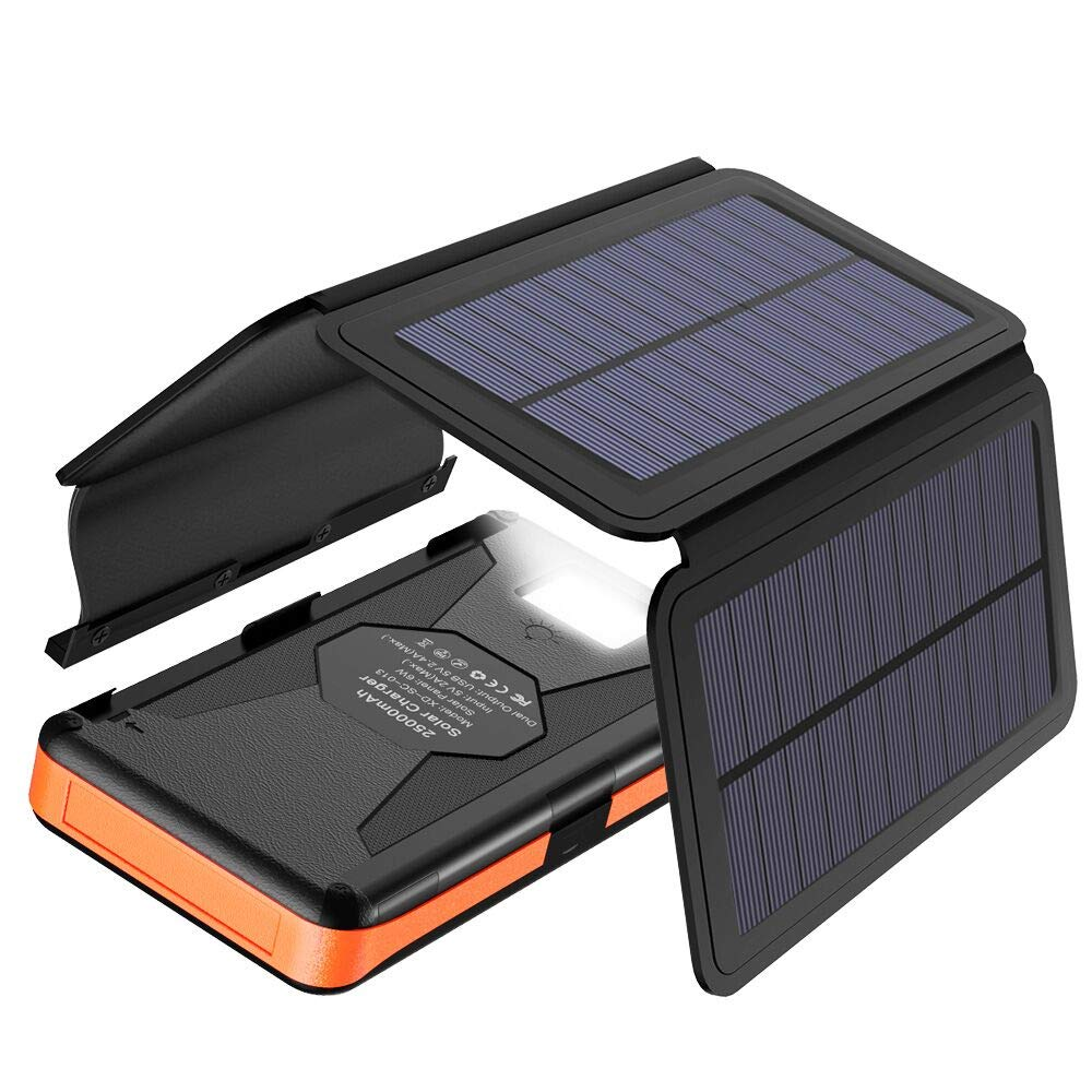 Solar Charger X-DRAGON 25000mAh Portable Power Bank with 4 Solar Panels Waterproof External Backup Battery Pack with Dual USB Outputs & Inputs, LED Flashlight for Smartphones, Tablets and More by X-DRAGON