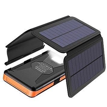 X-DRAGON Cargador Solar 25000mAh Portátil Powerbank Batería Externa Impermeable with 4 Paneles Solares, Salidas y Entradas USB Duales, Linterna LED ...
