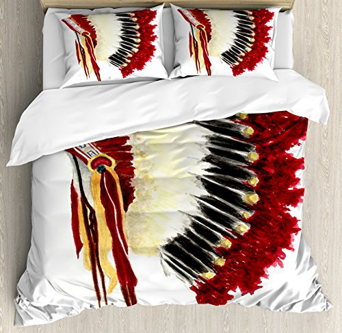Ambesonne Native American Duvet Cover Set King Size, Original Ethnic Symbolic Eagle Feather Headdress Native Life Style, Decorative 3 Piece Bedding Set with 2 Pillow Shams, White Red Black (Make American Headdress Native)