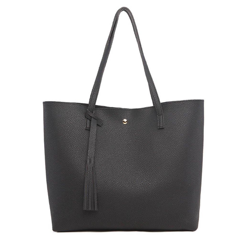 Black Womens Handbags Purse Ladies Shoulder Bag Leather Large Tote Bag Top Handle handbag