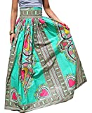 Alion Women's High Waisted Skirts Africa Print Totem Pleated Swing Maxi Skirt 1 L