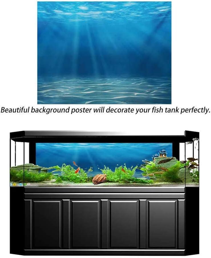 wwwhsl Aquarium Background,Ocean,Sea Turtle Swims in The Ocean Tropical Underwater World Aquarium Illustration Print,Green Brown Fish Tank Backdrop