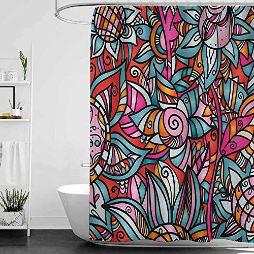homecoco Shower Curtains Blue Complete Set Abstract,Colorful Florals Sunflower Mosaic Curl Ornaments Stained Glass Inspired Design, Multicolor W65 x L72,Shower Curtain for Bathroom