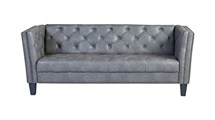 Westwood Naples Grey Faux Leather 76 Inch Tufted Sofa