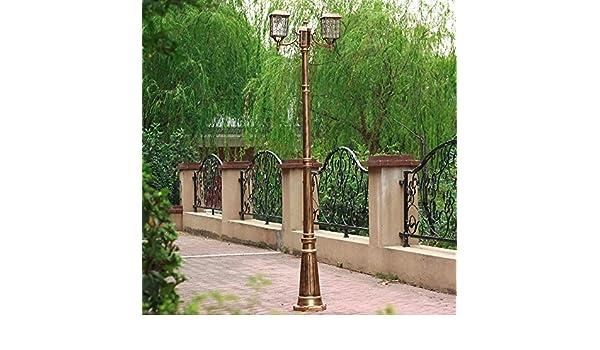 Led Solar Garden Path Light 2-Head Outdoor Waterproof Lawn High Pole Street Lamp Rustproof Aluminum Villa Pond Lights Windproof Strong Durable Metal Patio Column Lantern
