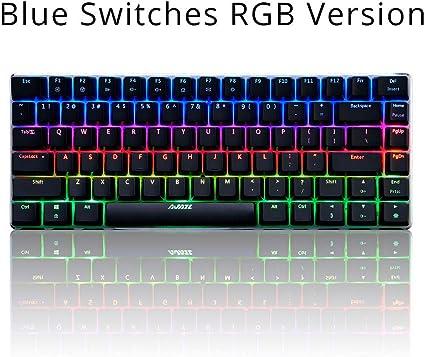 Teclado Mecánico Juegos RGB Teclados 82 Teclas Azul/Negro ...