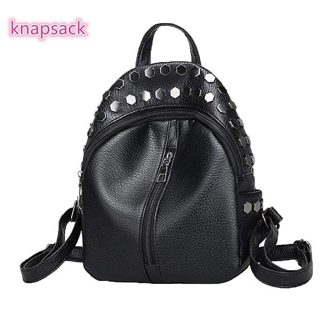 Outsta Teenagers Mini Mochila de remache, mochilas para mujeres, niñas, mochilas de escuela, bolso de hombro, color negro: Amazon.es: Juguetes y juegos