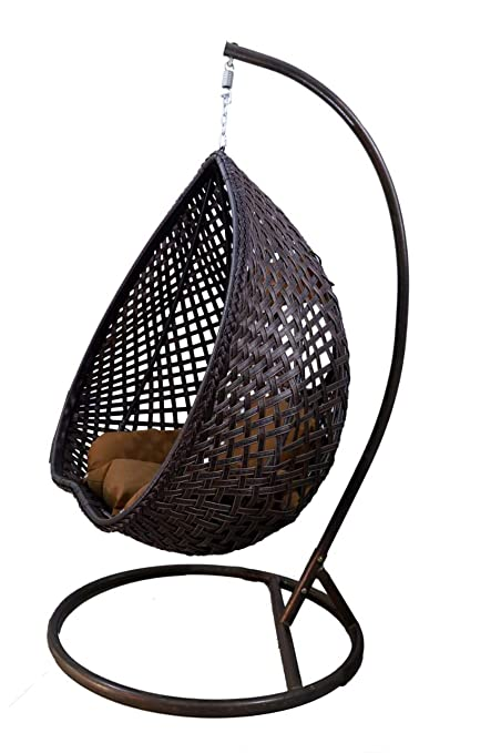 Hk Furniture Outdoor Hanging Swing Chair With Stand Dark Brown Amazon In Home Kitchen