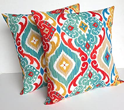 Amazon Com Two Indoor Outdoor Ikat Print Pillow Covers Cushion