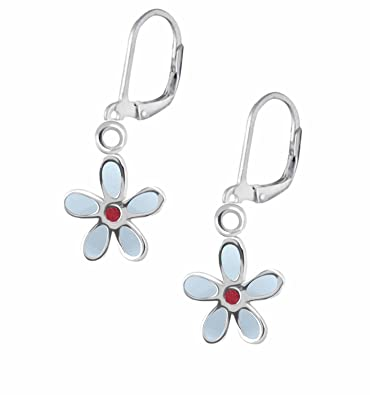 SL-Collection Ohrringe Kinderohrringe weisse Blume Kristall 925 ...