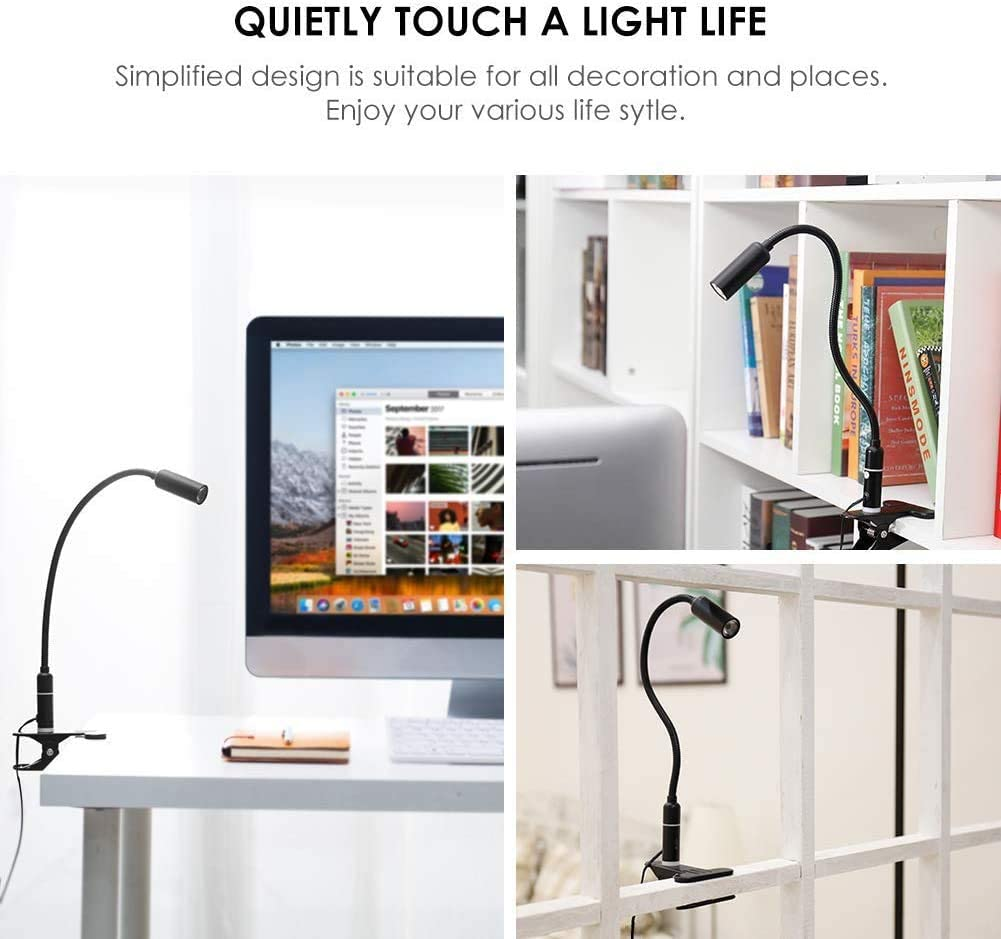 cuidado de ojos l/ámpara de cama con 3 niveles de brillo control de contacto regulable Negro, Control tactil Flexo LED con pinza l/ámpara de escritorio luz lectura/con pinza de 4W