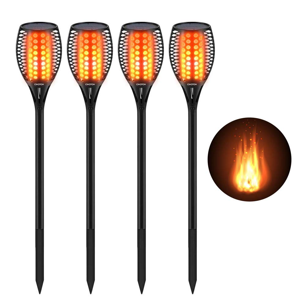 CINOTON Solar Tiki Torches Upgraded,Waterproof Flame Torch Lights Outdoor, Landscape Decoration Lighting, Dusk to Dawn Auto On/Off Security Warm Light for Garden Patio Deck Yard Driveway (4 Pack)