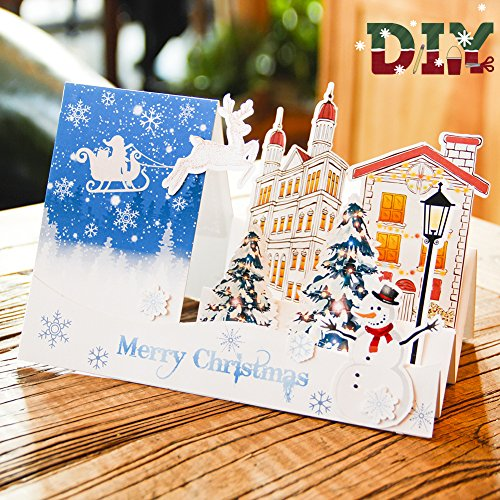 Paper Spiritz Pop up DIY Christmas Cards - 3D Handmade Holiday Greeting Cards for Kid Dad Mom Friend - Laser Cut Christmas Pop up Greeting Cards - Holiday Pop Up Cards Birthday Gift
