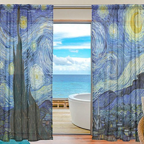 Night Door Curtain - SEULIFE Window Sheer Curtain Van Gogh Starry Night Art Voile Curtain Drapes for Door Kitchen Living Room Bedroom 55x78 inches 2 Panels