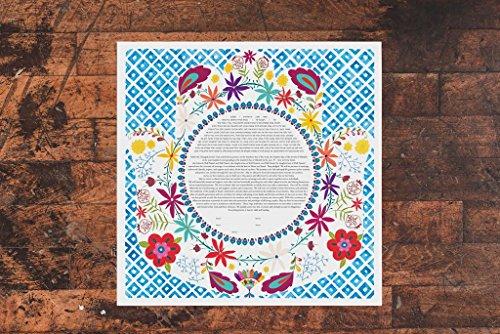 Floral Hamsah Ketubah   Jewish/Interfaith Wedding Certificate   Hand-Painted, Giclée Print by Tallulah Ketubahs