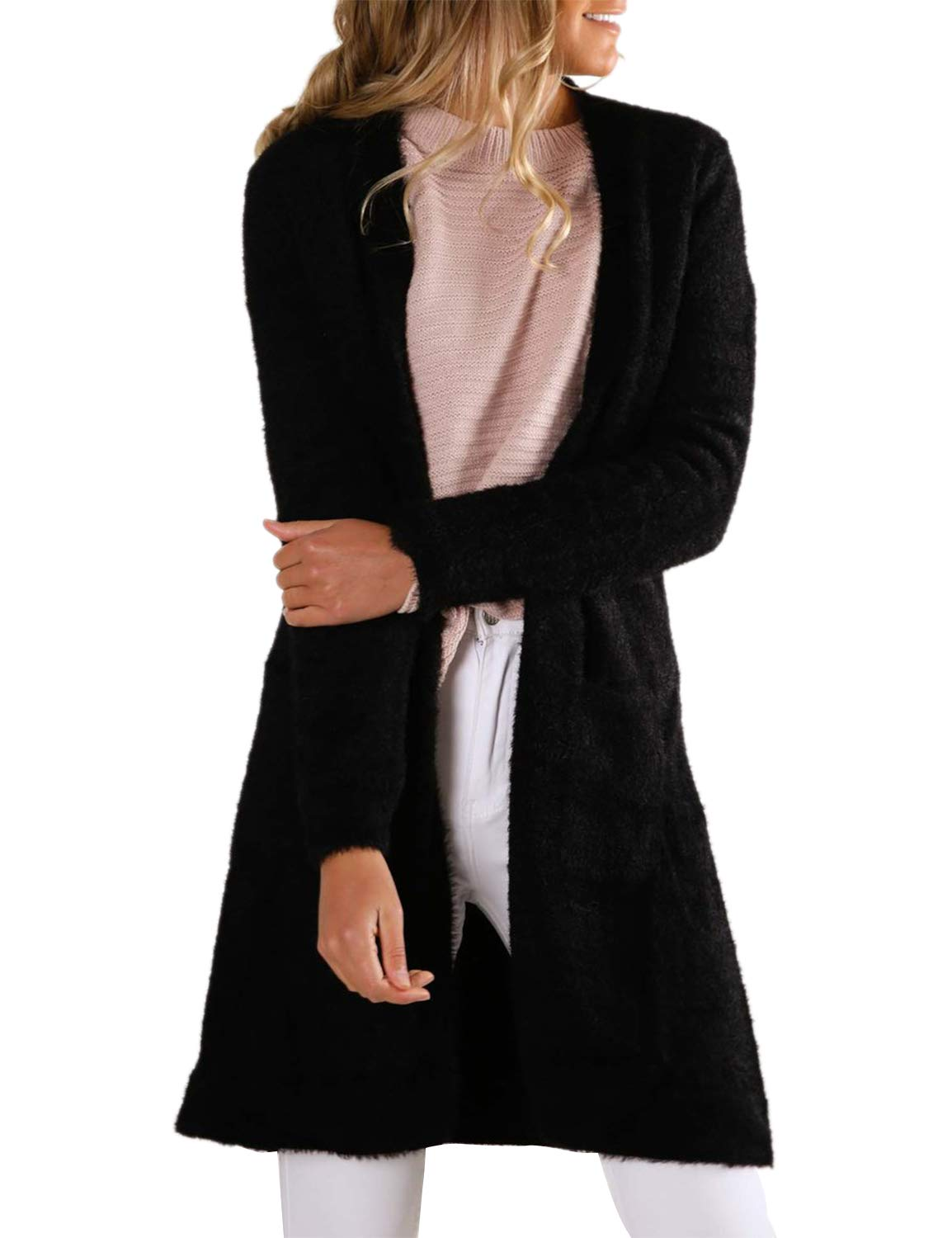 BMJL Women's Long Sleeved Cardigan Longline Sweater Warm with Pockets Black