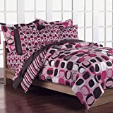 Girls Teen Pink and Brown Geometric Circles 7 Piece Comforter Set Size: Full