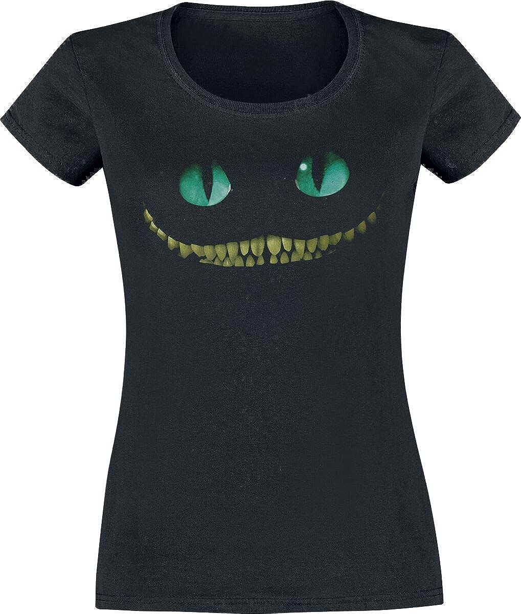 Alice in Wonderland Girocollo sagomata Nero S T-Shirt per ragazze con motivo dello Stregatto Tratta dal film di Tim Burton