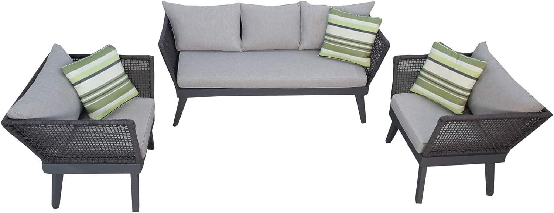 Jet-line Cuba - Juego de muebles de jardín con cuerda de enrollamiento, 3 unidades, color gris oscuro: Amazon.es: Jardín