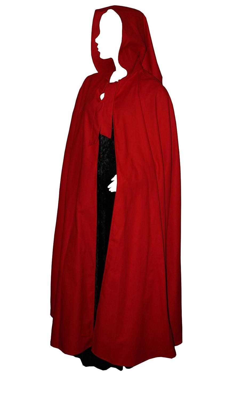 Kreativwunderwelt Umhang aus schwerer Baumwolle - 140cm - rot - spitze Gugel