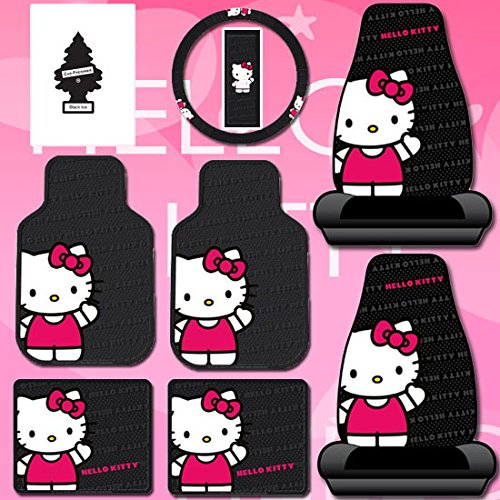 New Design 8 Pieces Hello Kitty Car Seat Cover with 4 Rubber Mats, Steering Wheel Cover and Air (Hello Kitty Seat Covers)