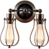 Vintage Wall Light Adjustable Industrial Wall Sconce Retro Indoor Wall Lighting Fixture(Two-Light Lamp Base, Oil Rubbed Bronze)