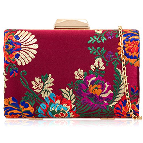 Hard Medium Evening Boxy Women Party Floral Burgundy Compact Bag Wedding Embroidered Bridal Xardi Satin Minaudiere London Clutch xpvwv7C