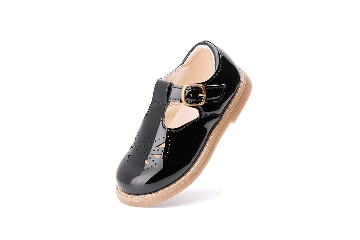 WUIWUIYU Toddlers Little Girls/' Soft Vintage Style T-Strap Oxfords Mary Jane Flats Dress Shoes