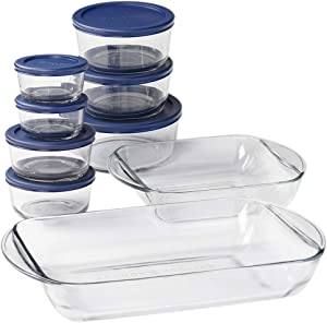 Anchor Hocking Snug Fit Food Storage, 16 Piece Set, Navy