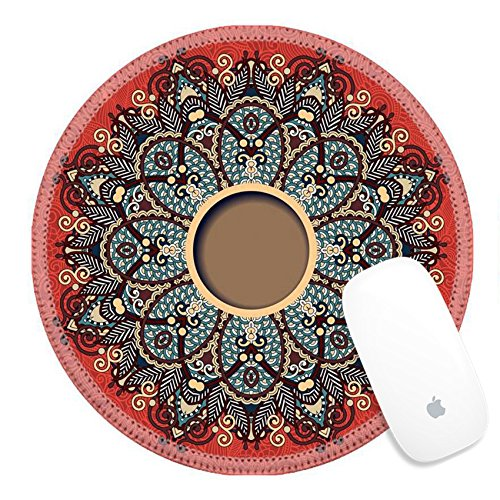 Luxlady Round Gaming Mousepad 32232843 floral round pattern in ukrainian oriental ethnic style for your greeting card or invitation template design for card vintage lace doily vector illustr