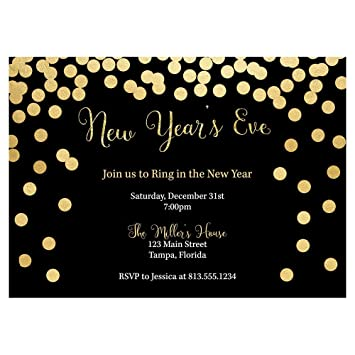 New Years Eve Party Invitations Happy New Year Invites Black Gold Confetti Cheers Glitter Sparkle Champagne Custom Personalized Printed Cards 10