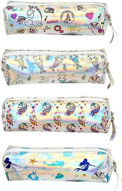 drawihi 1 x Estuche Unicornio sirena patrón estuche Neceser Papel de carta Funda para niña y Estudiantes (Color aleatorio) 9 x 5 x 4.5 cm: Amazon.es: Oficina y papelería