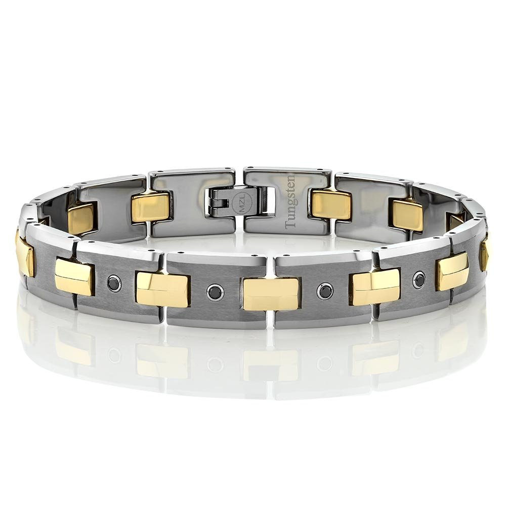 8'' Matte & Polished Tungsten Men's Fold Over Clasp Bracelet With Black Diamond