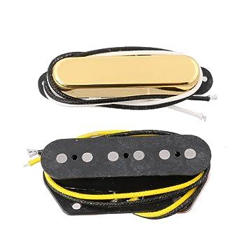 lyws pastilla para guitarra eléctrica Cuello y puente Pickup Alnico 5 imán para Tele estilo, dorado: Amazon.es: Instrumentos musicales
