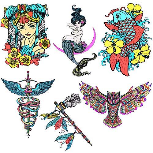 BodyJ4You Large Temporary Tattoo Glow Dark Anime Mermaid Kai Fish Flower Owl Magic Spiritual Sign