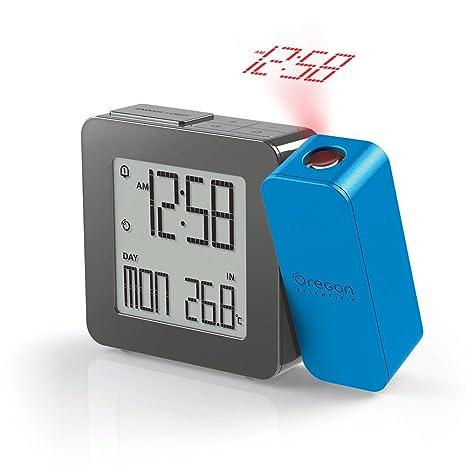 Oregon Scientific RM338P_B - Reloj Despertador proyector con temperatura interior, Digital, AA, azul