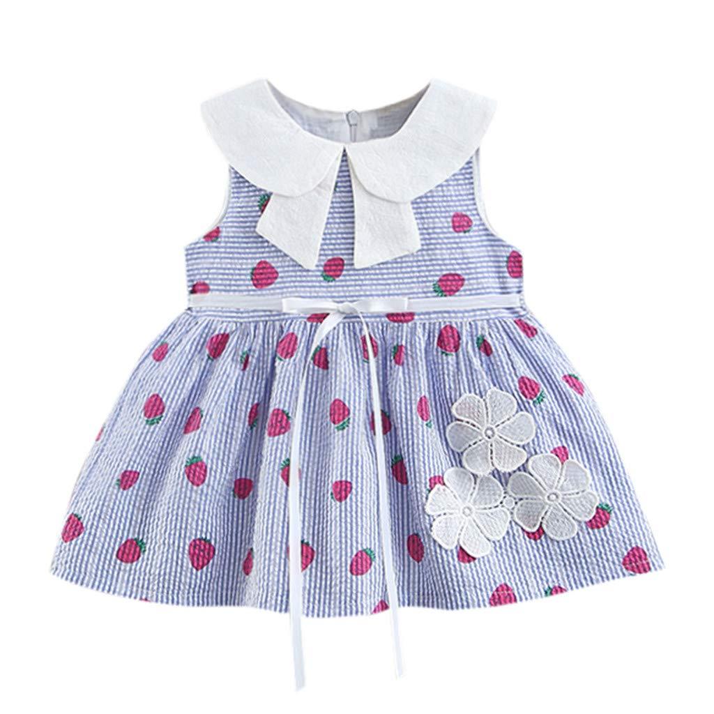d99b8865b5ea7 Amazon.com: Baby Girls' Sundress Summer Cotton Floral Strawberry ...