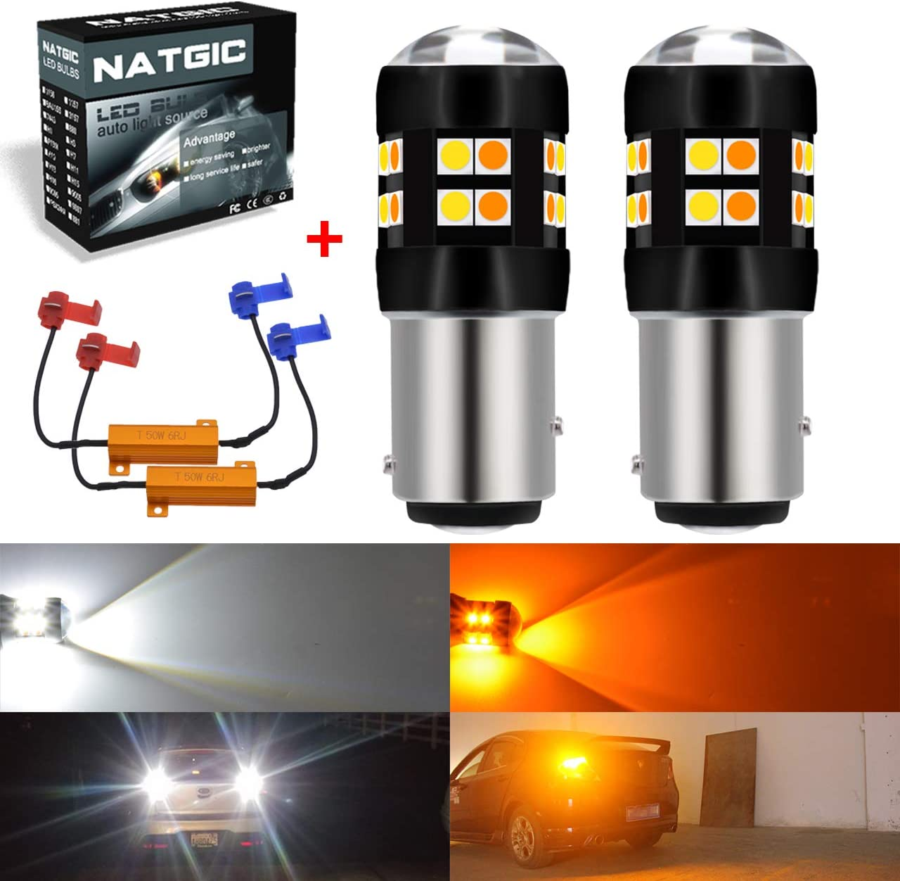 NATGIC 1157 BAY15D Led Bulbs 3030 24 - SMD Dual Color LED Bulbs White/Amber Canbus Error Free Turn Signal Light with 50W 8ohm Load Resistors