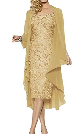 22652eddfe0 Ruiyuhong Mother of The Bride Dress with Jacket Formal Gowns US18W Gold  (18W
