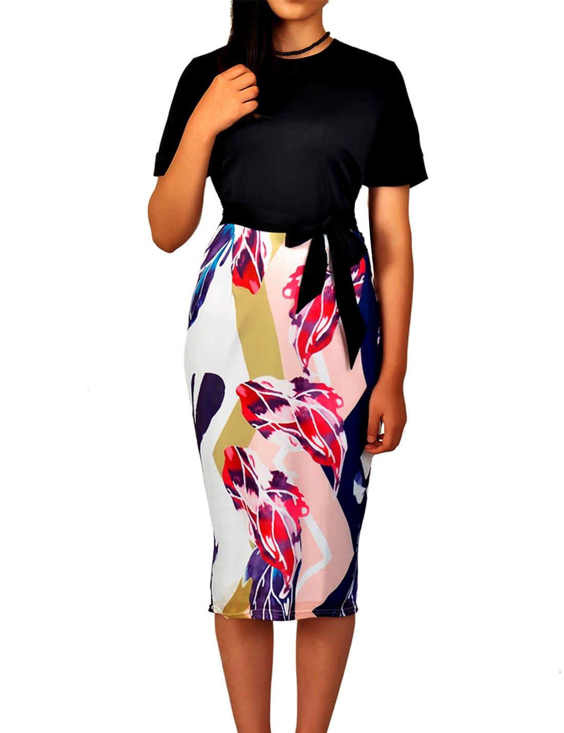 Flovey Women's Bodycon Business Pencil Dress Party Knee Length Dress Ladies Colorblock Dress (Black, 2XL)