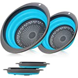 2 Collapsible Set - Collapsible Colander, Learja Upgrade Food-Grade Silicone kitchen Strainer Space-Saver Folding Strainer Colander, Sizes 8 inches - 2 Quart, and 10 inches - 4 quart. (Blue)