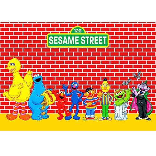 Red Brick Sesame Street BackdropFirst Birthday 7x5ft Elmo with Cookies Background for 1st Birthday Customized Backdrop with Kids Name Background for Party Wall Decor