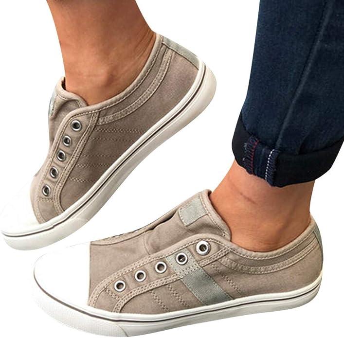 Chaussures Femmes LEvifun Femme Chaussure D/étente Plate Casual Chaussures Bateau D/écontract/ée Mode Mocassins Toile Plate a Enfiler Confort Slip-on Bureau Travail